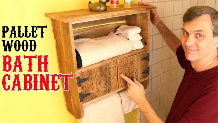 Rustic Pallet Wood Bath Cabinet